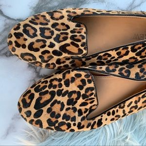 J Crew Collection Pony hair Slip On loafer leopard
